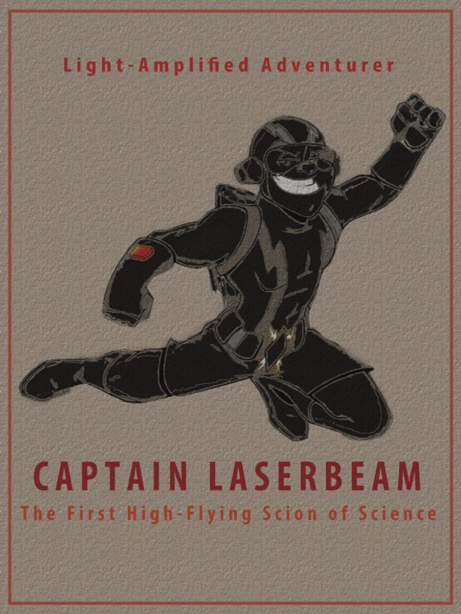 A mash up of captain america and captain laserbeam.
