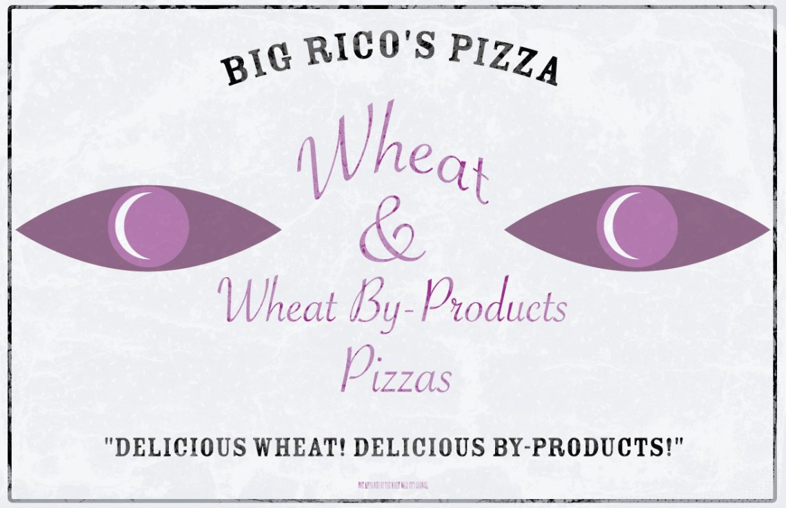 Poster for Big Rico's Pizza from Welcom to Night Vale
