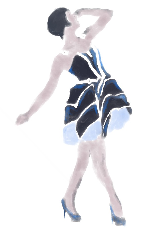 Monday Mashup: This week I change things up a bit by experimenting with the watercolor brushes in Photoshop. I have a picture of a woman who made a Tron inspired dress and did my watercolor about her.