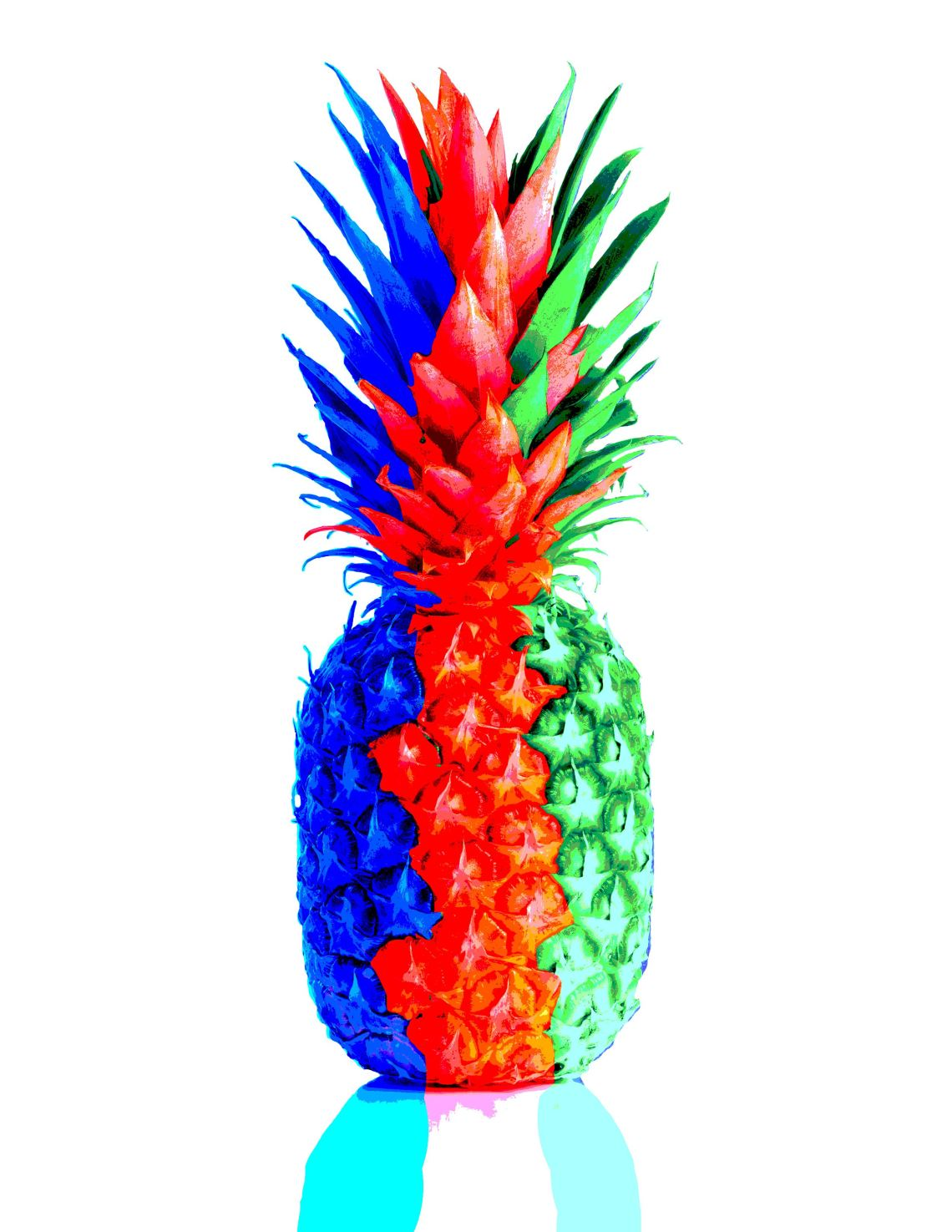 red,green and blue pineapple with the use of photoshop.
