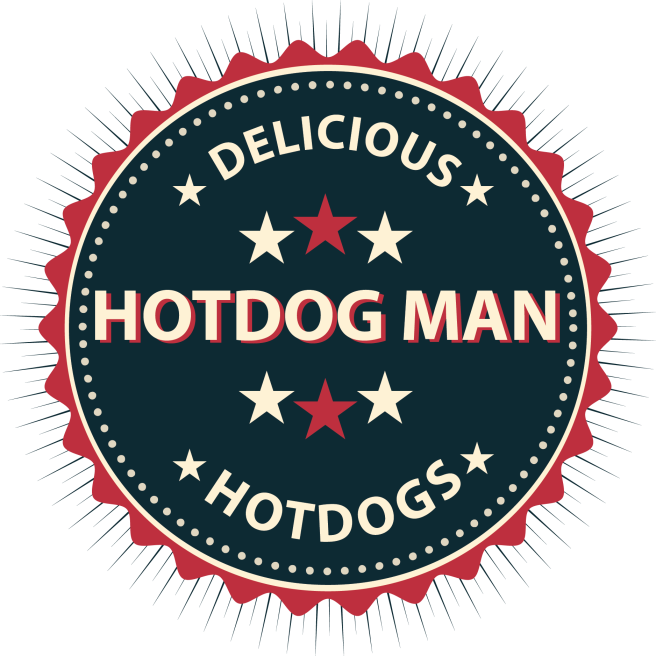 Old style badge but with hotdog mans name.