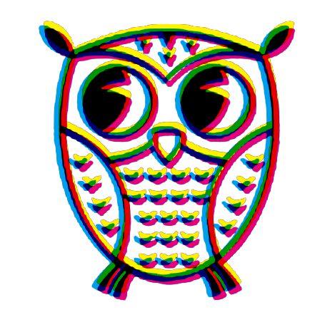 An owl in CMYK