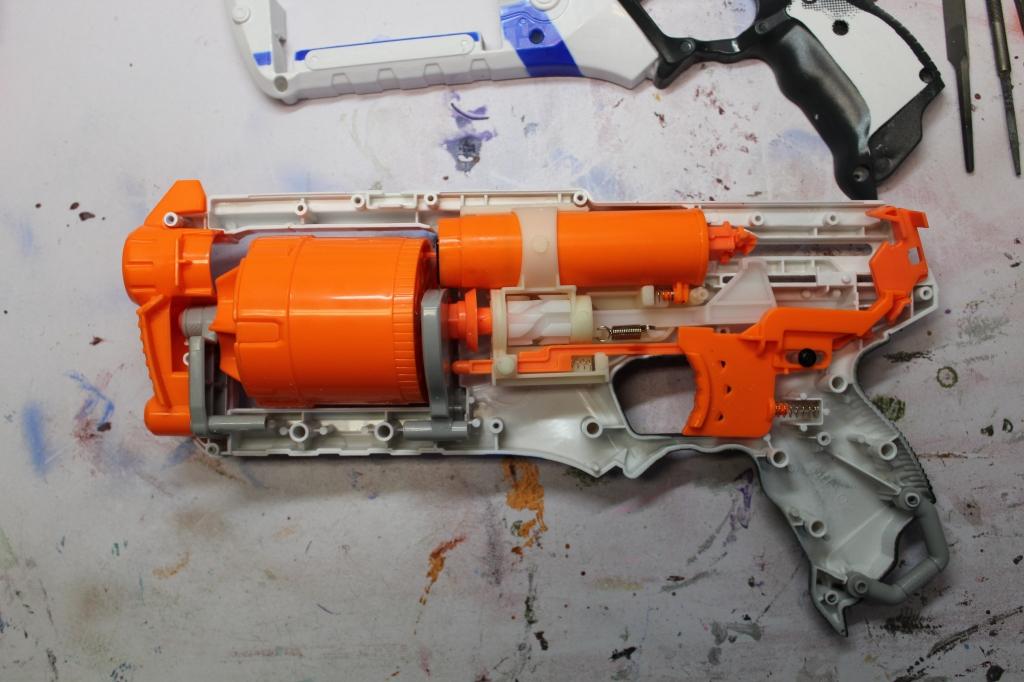 nerf gun taken apart